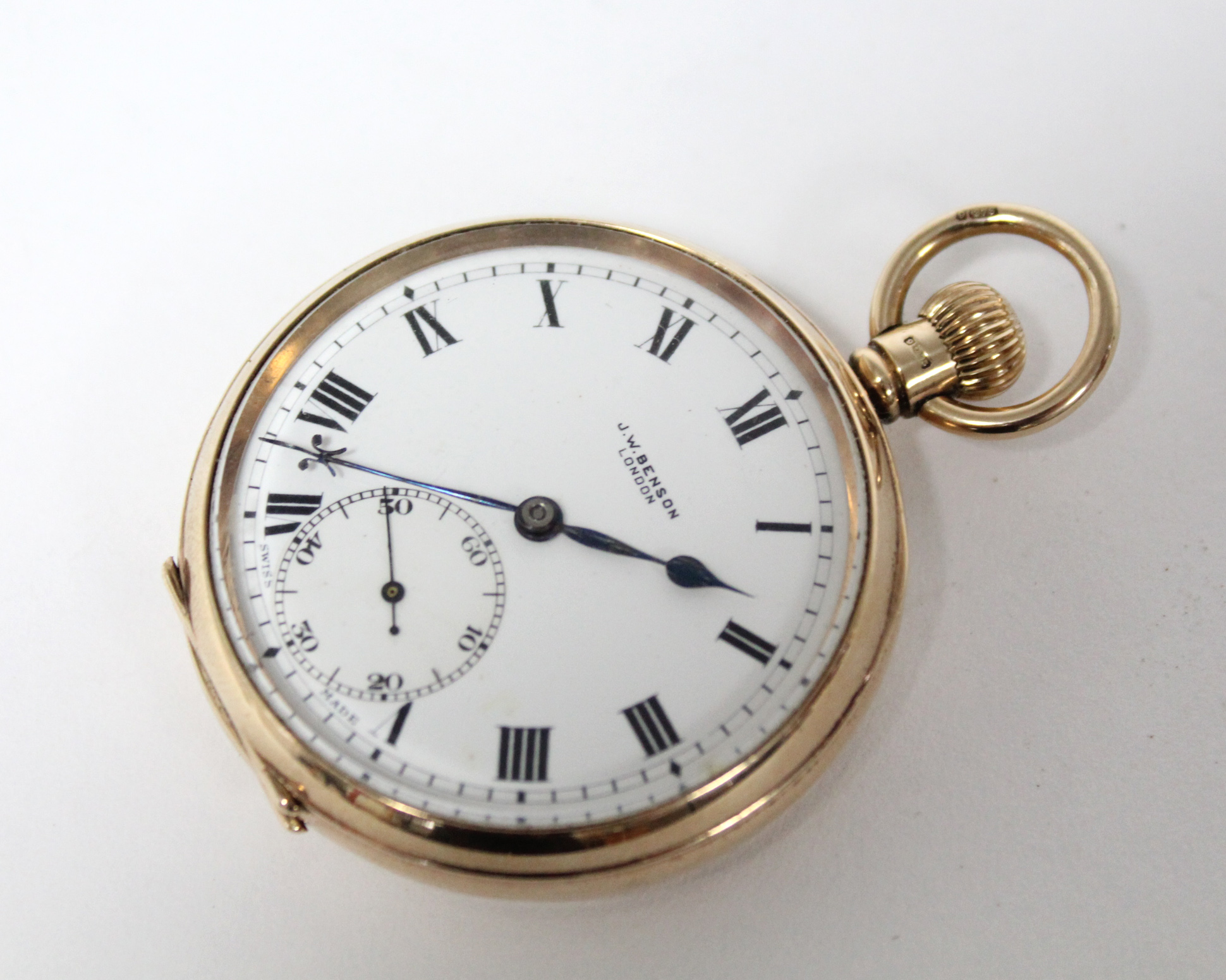 A 9ct. gold cased gent's open-face pocket watch, the white enamel dial with black roman numerals & - Image 3 of 7