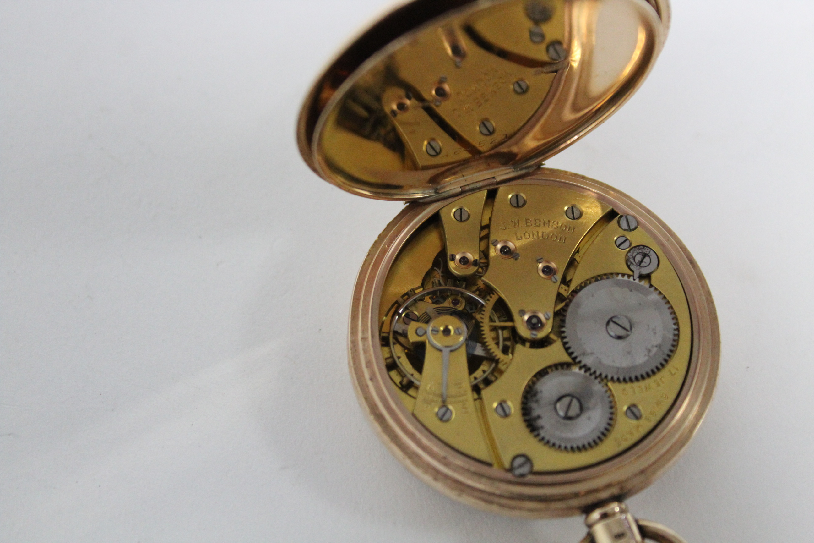 A 9ct. gold cased gent's open-face pocket watch, the white enamel dial with black roman numerals & - Image 6 of 7