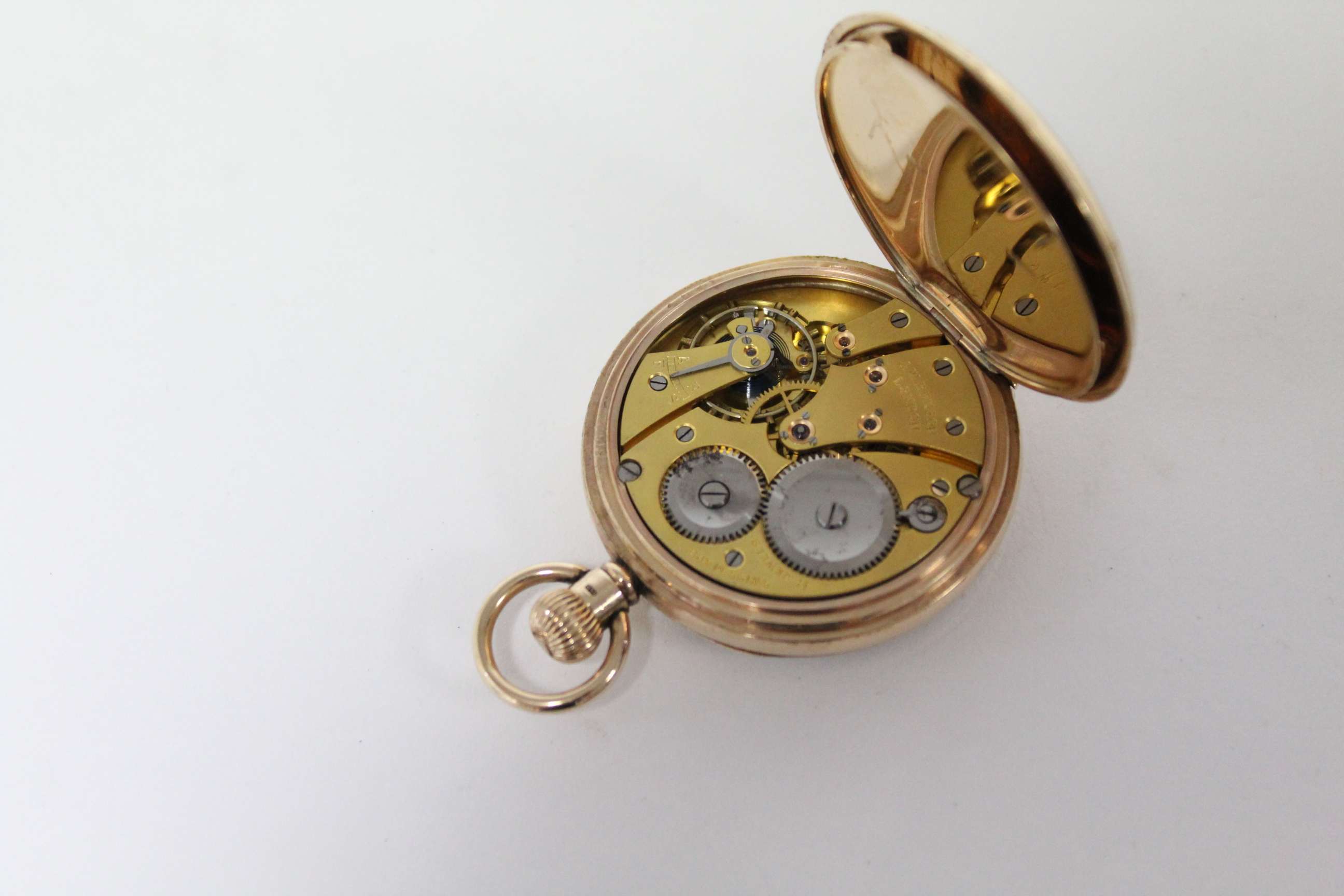 A 9ct. gold cased gent's open-face pocket watch, the white enamel dial with black roman numerals & - Image 5 of 7
