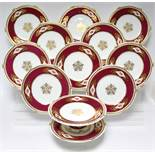 A Victorian dessert service with beaded rims, reserves of pink roses to the wide ruby & gilt