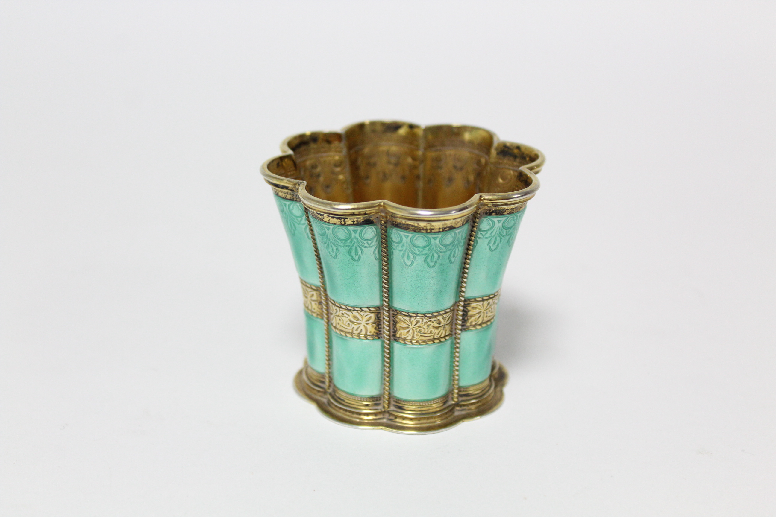 "A Danish gilt-sterling & turquoise enamel ""Queen Margrethe"" cup by Anton Michelsen, of waisted - Image 3 of 6"