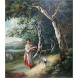 ENGLISH SCHOOL, late 18th/early 19th century. A wooded landscape with peasant girl holding a pan