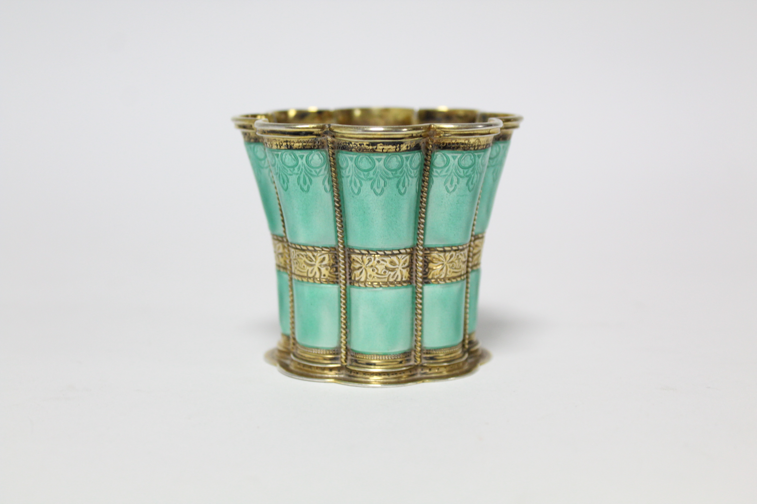 "A Danish gilt-sterling & turquoise enamel ""Queen Margrethe"" cup by Anton Michelsen, of waisted - Image 2 of 6"