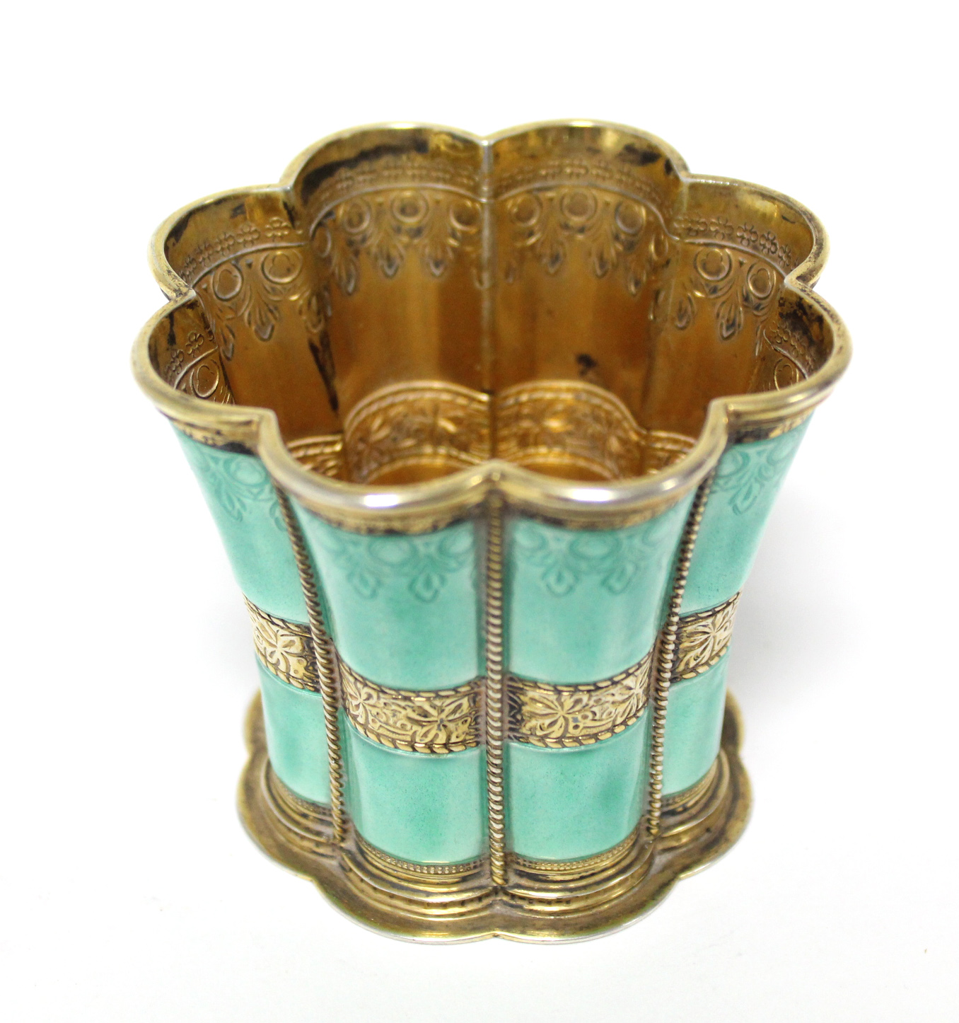 """Lot 33 - A Danish gilt-sterling & turquoise enamel """"Queen Margrethe"""" cup by Anton Michelsen, of waisted"""