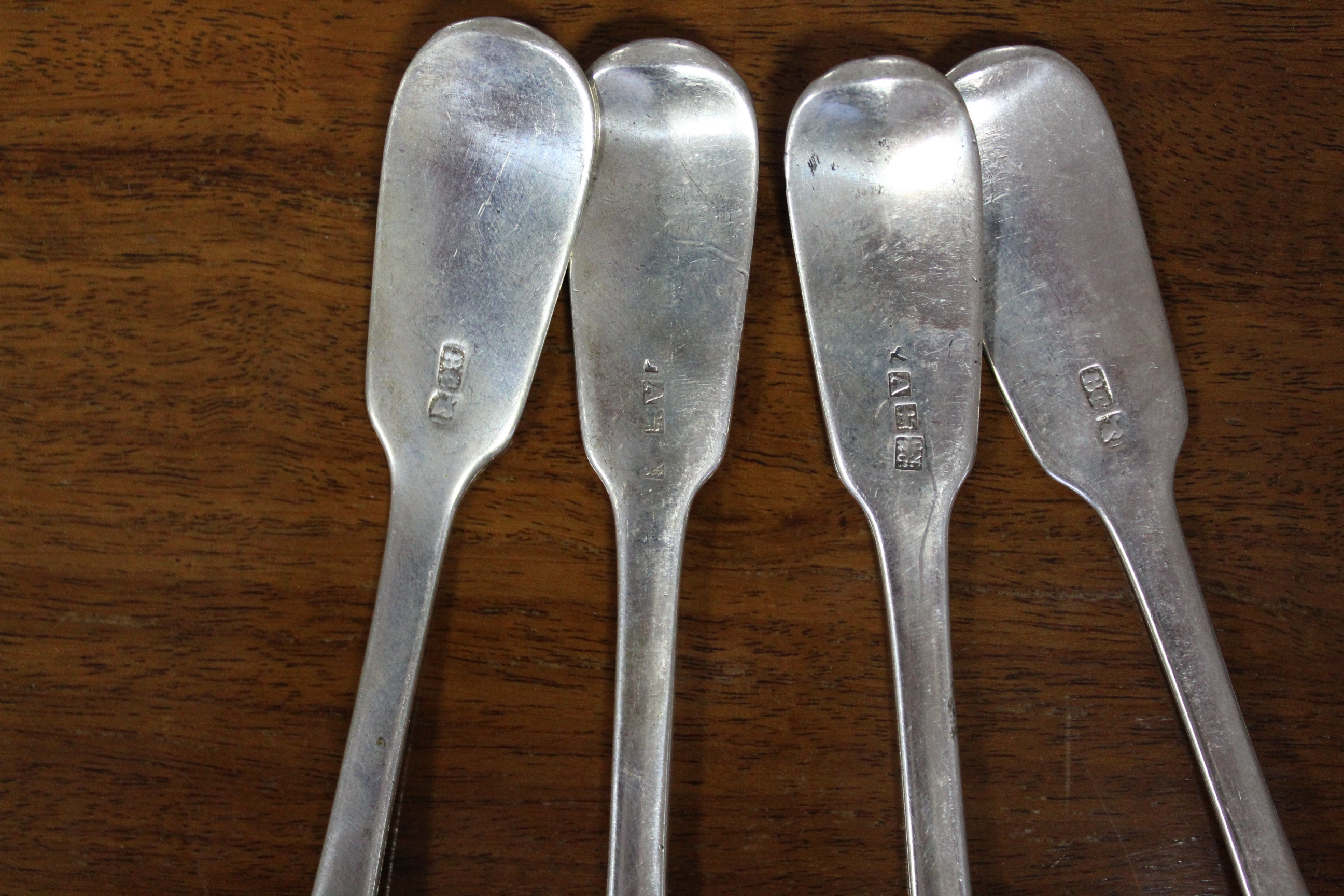Two pairs of Scottish provincial (?) Fiddle pattern teaspoons. - Image 2 of 3