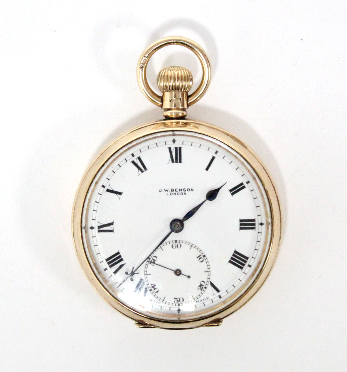 A 9ct. gold cased gent's open-face pocket watch, the white enamel dial with black roman numerals &