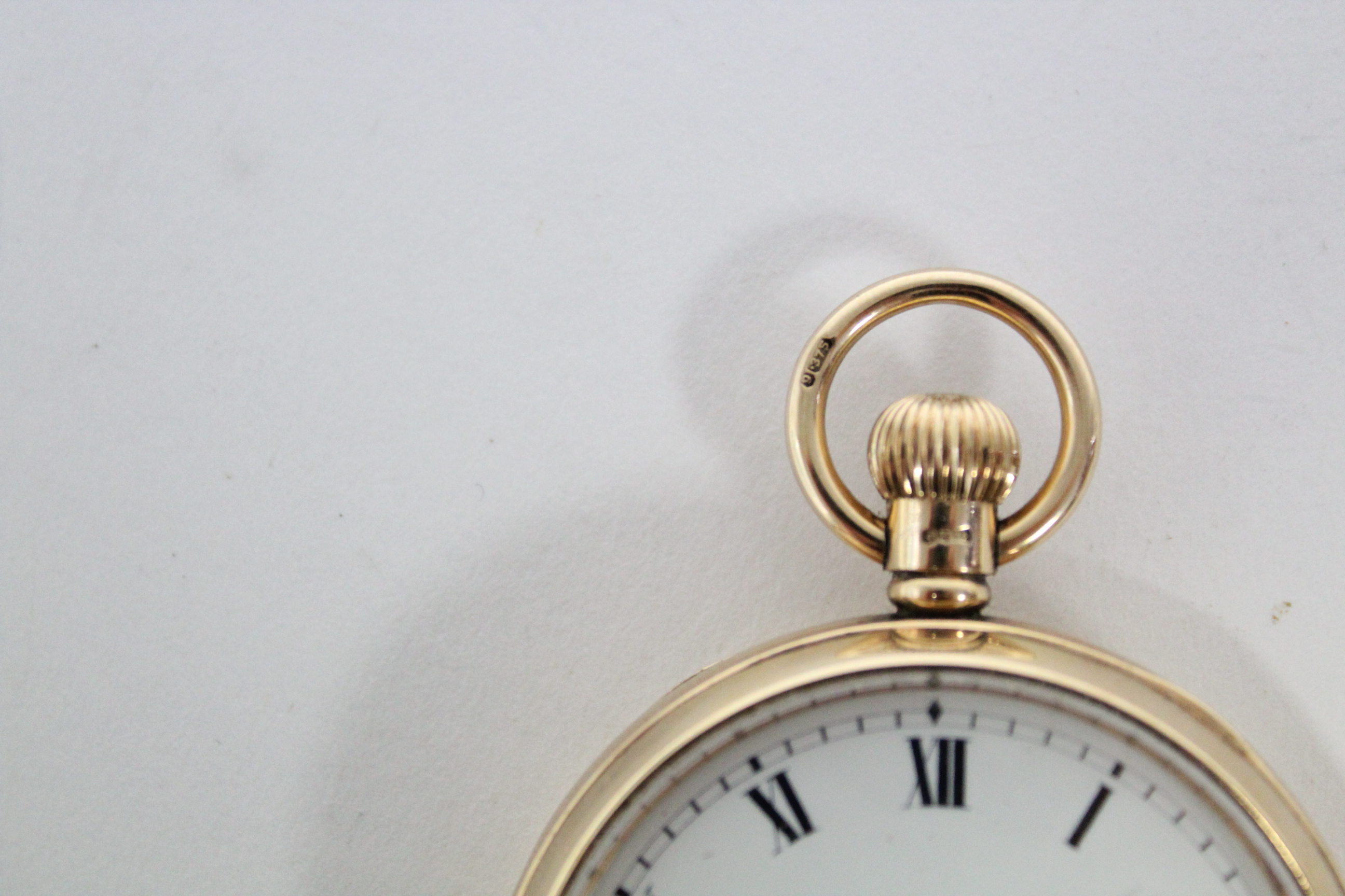 A 9ct. gold cased gent's open-face pocket watch, the white enamel dial with black roman numerals & - Image 2 of 7