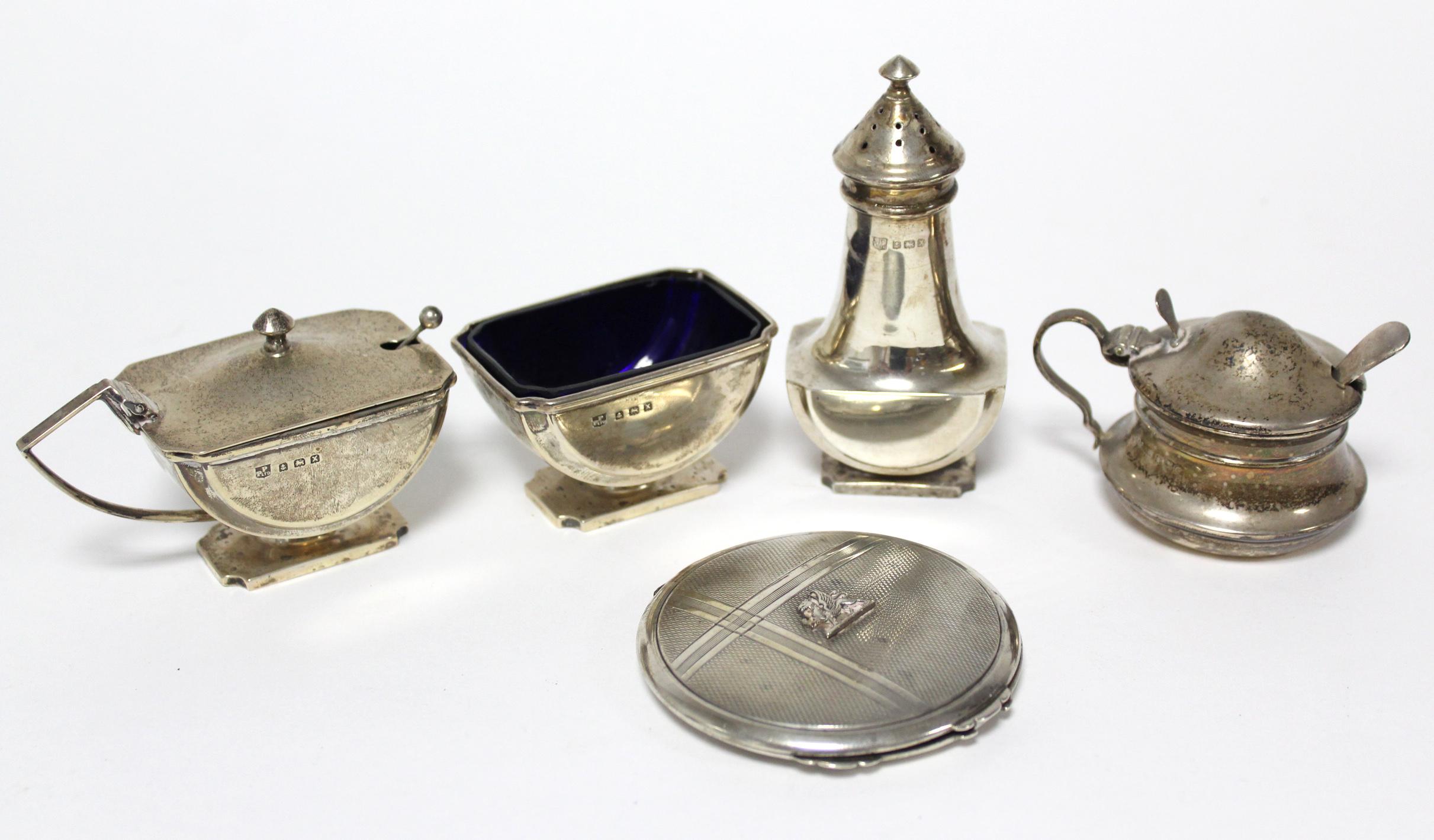 Lot 19 - A three-piece condiment set, Birmingham 1947, by Poston Products Ltd.; a circular mustard pot with