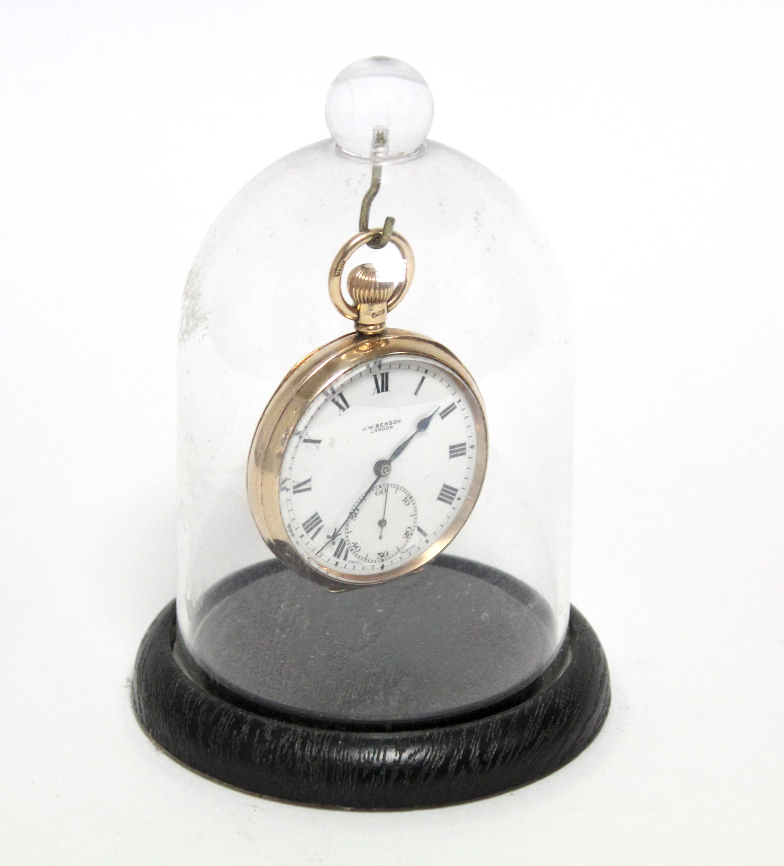 A 9ct. gold cased gent's open-face pocket watch, the white enamel dial with black roman numerals & - Image 7 of 7