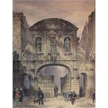 ENGLISH SCHOOL, 19th century. Temple Bar, London, the gates half closed, with numerous figures to