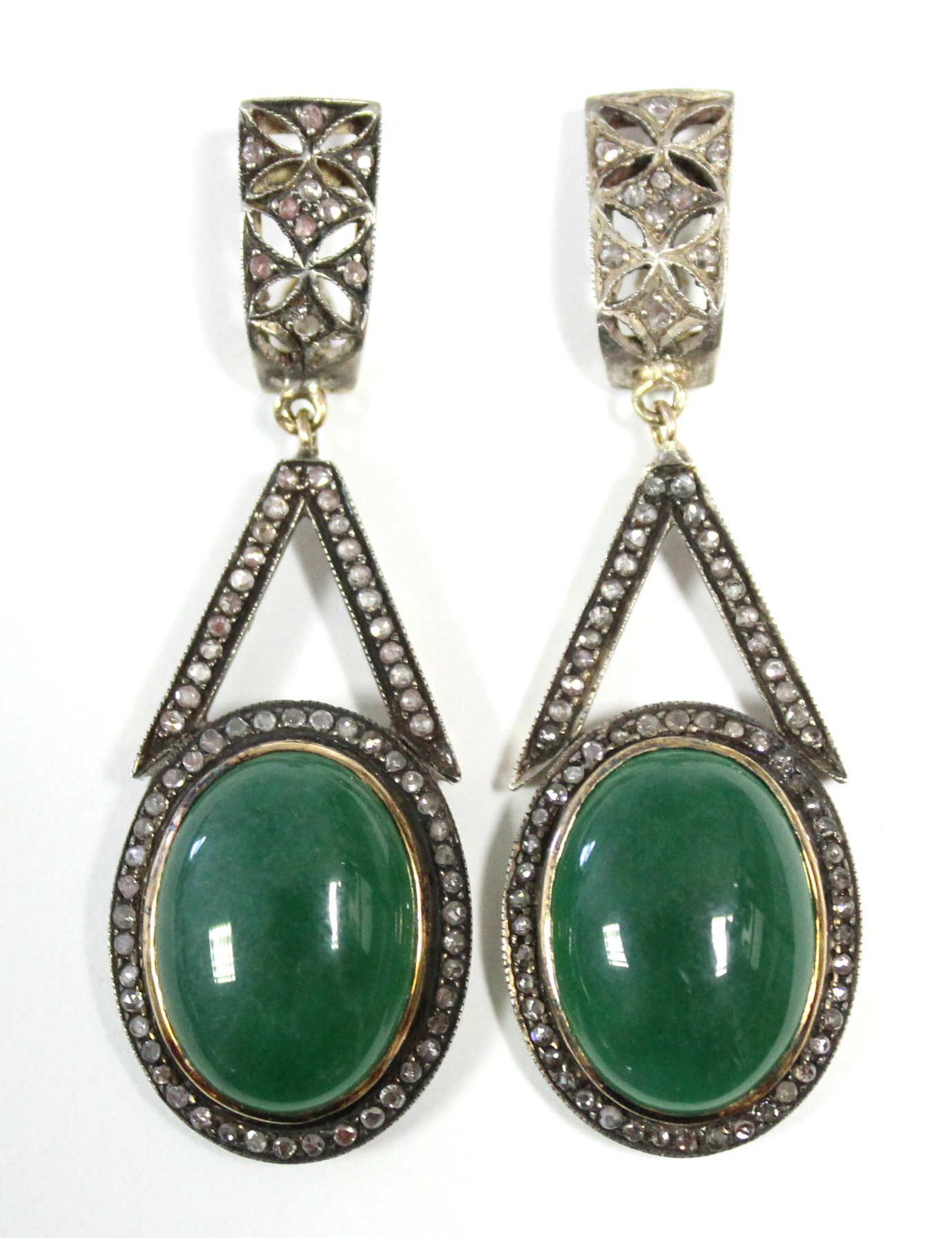 A PAIR OF JADE & DIAMOND PENDANT EARRINGS, each with oval green jade cabochon suspended from an