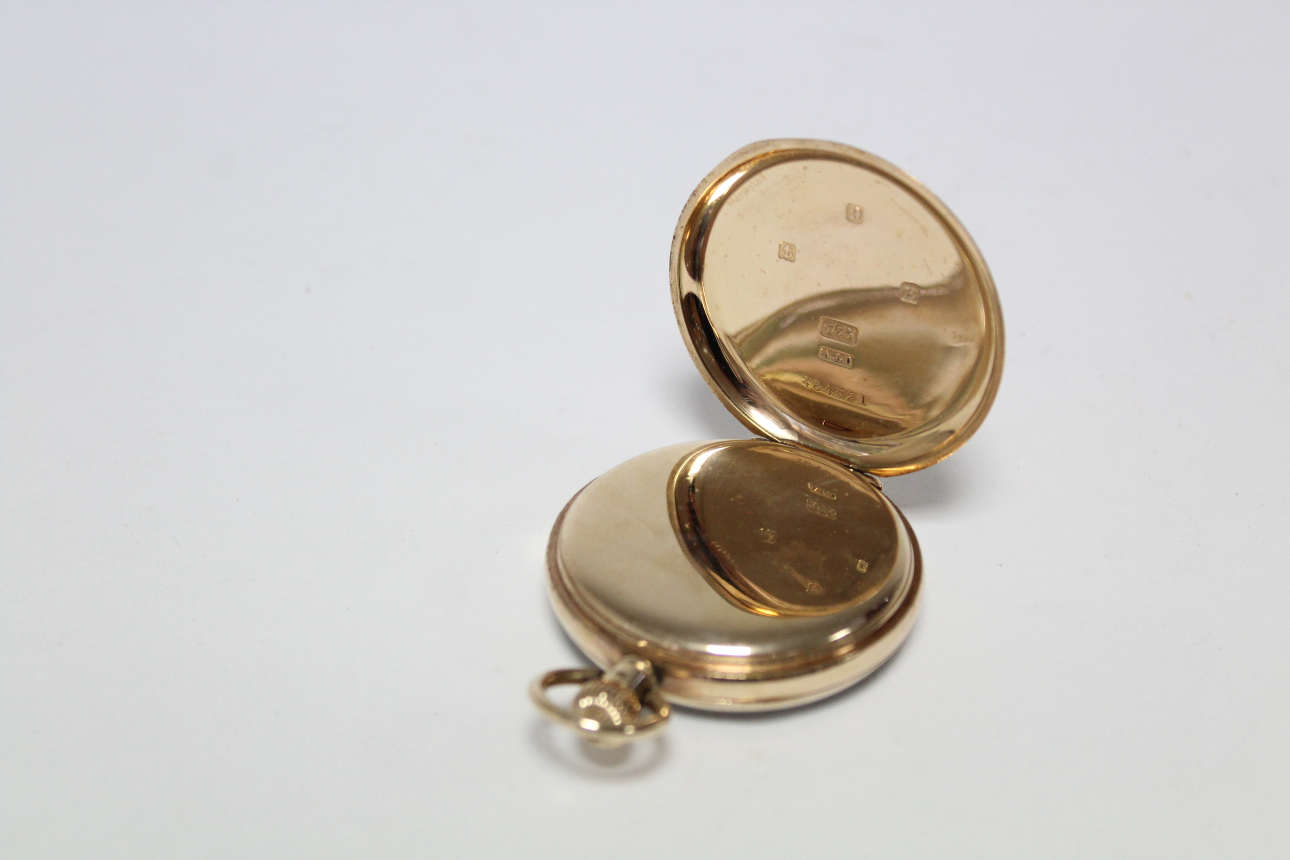 A 9ct. gold cased gent's open-face pocket watch, the white enamel dial with black roman numerals & - Image 4 of 7