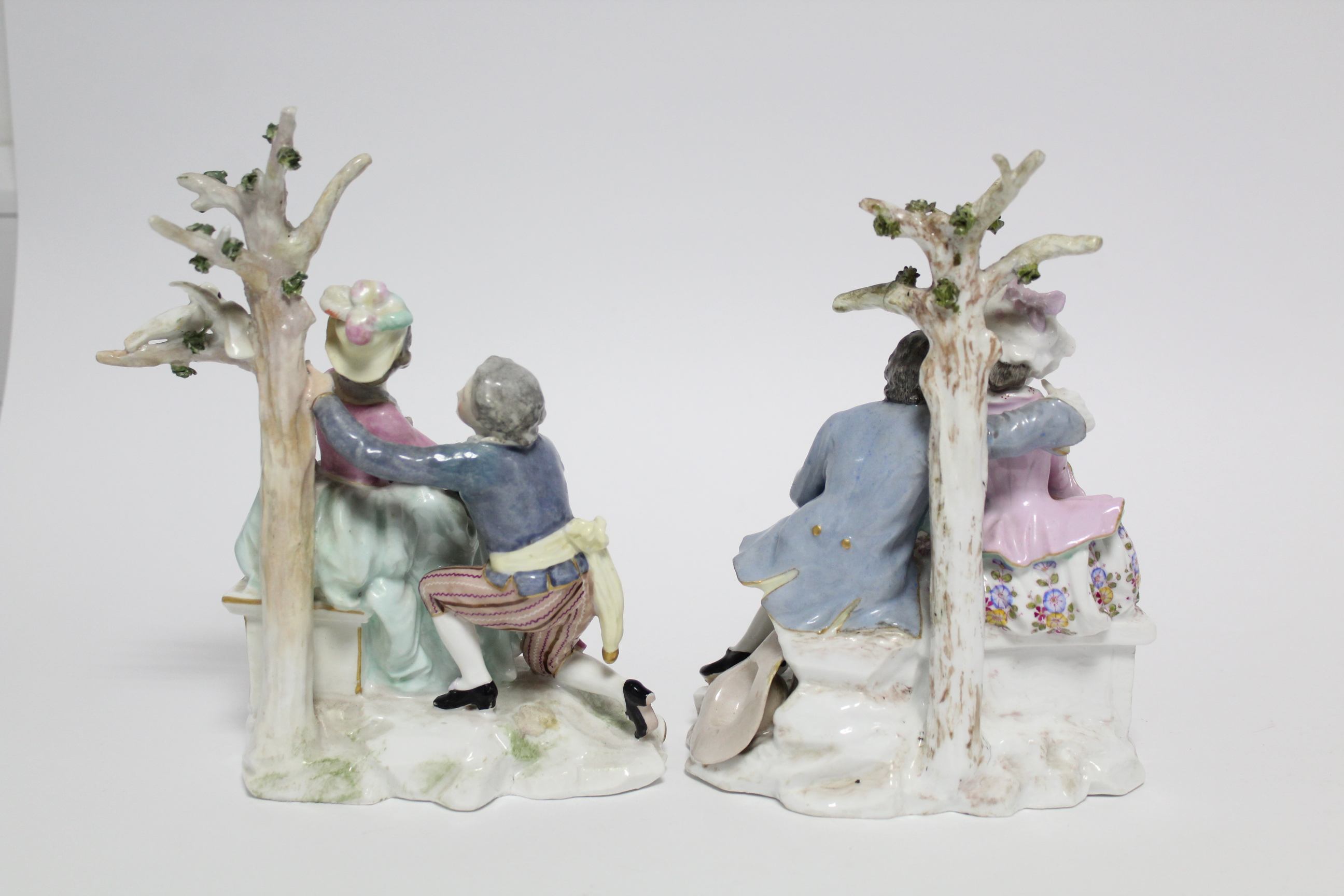 A pair of Samson porcelain romantic male & female figure groups, each dressed in colourful 18th - Image 4 of 5