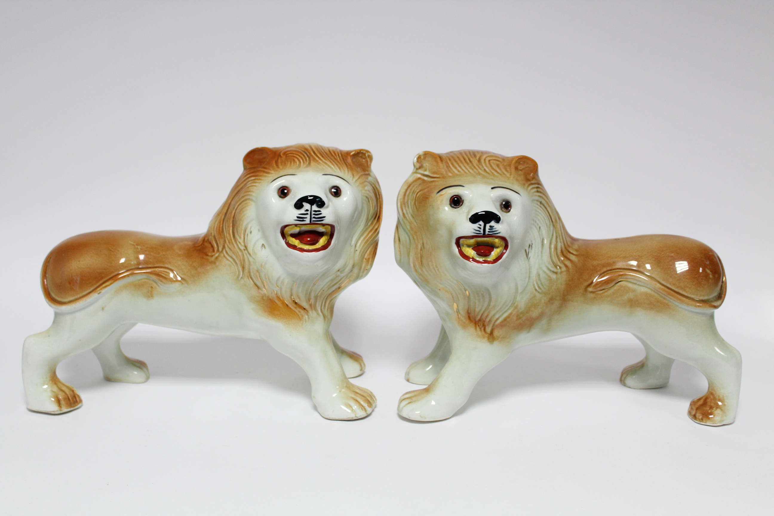A pair of early 20th century Sadler Pottery large standing models of roaring lions with inset - Image 2 of 7
