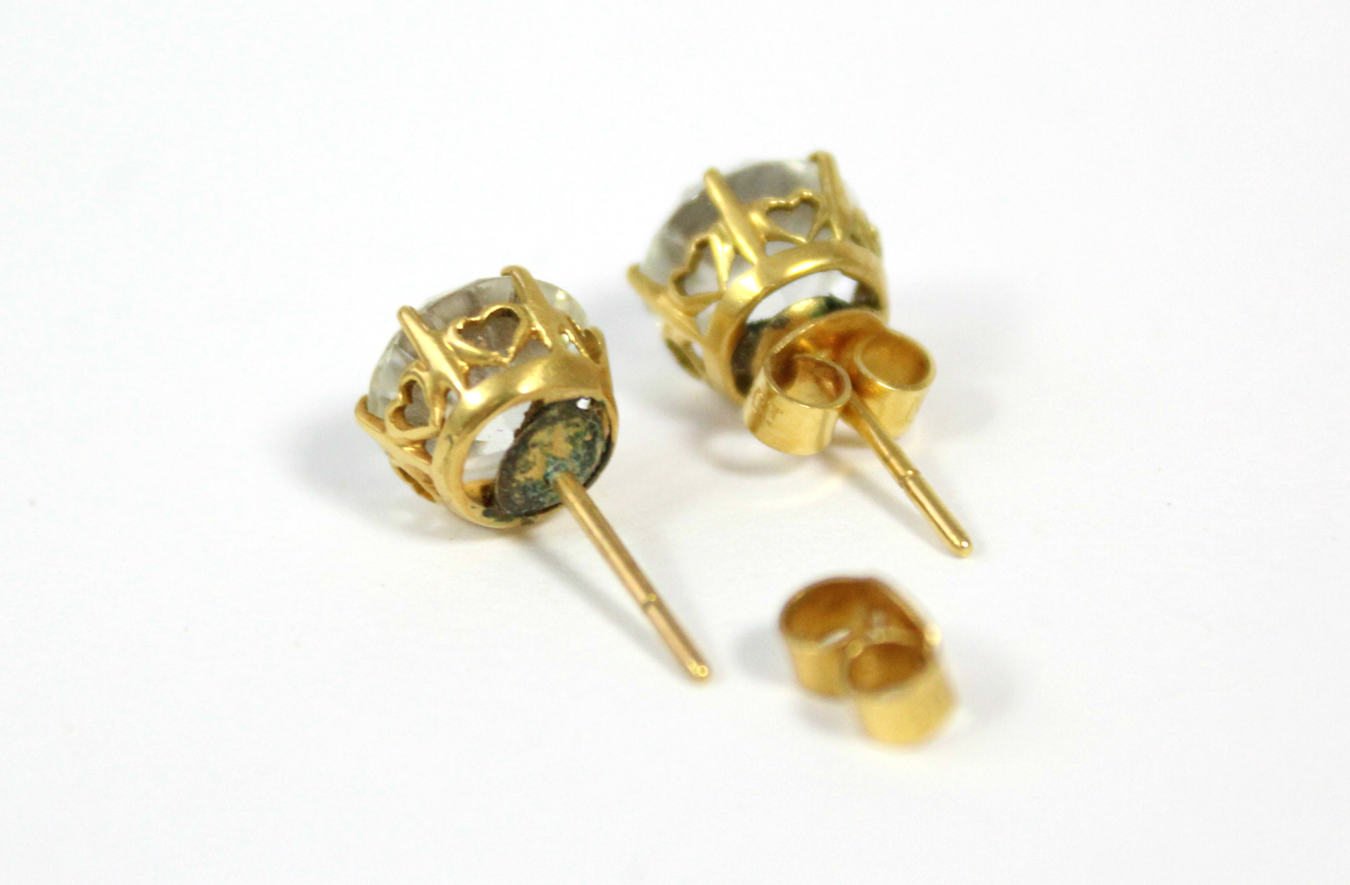 A pair of white topaz ear studs. - Image 3 of 3