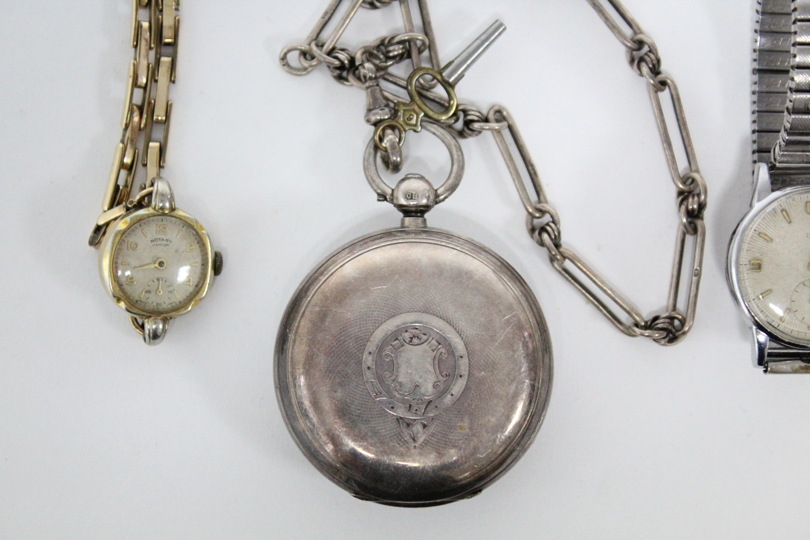 Lot 42 - A Victorian gent's pocket watch in engine-turned silver case (Chester 1888), the movement signed: ""