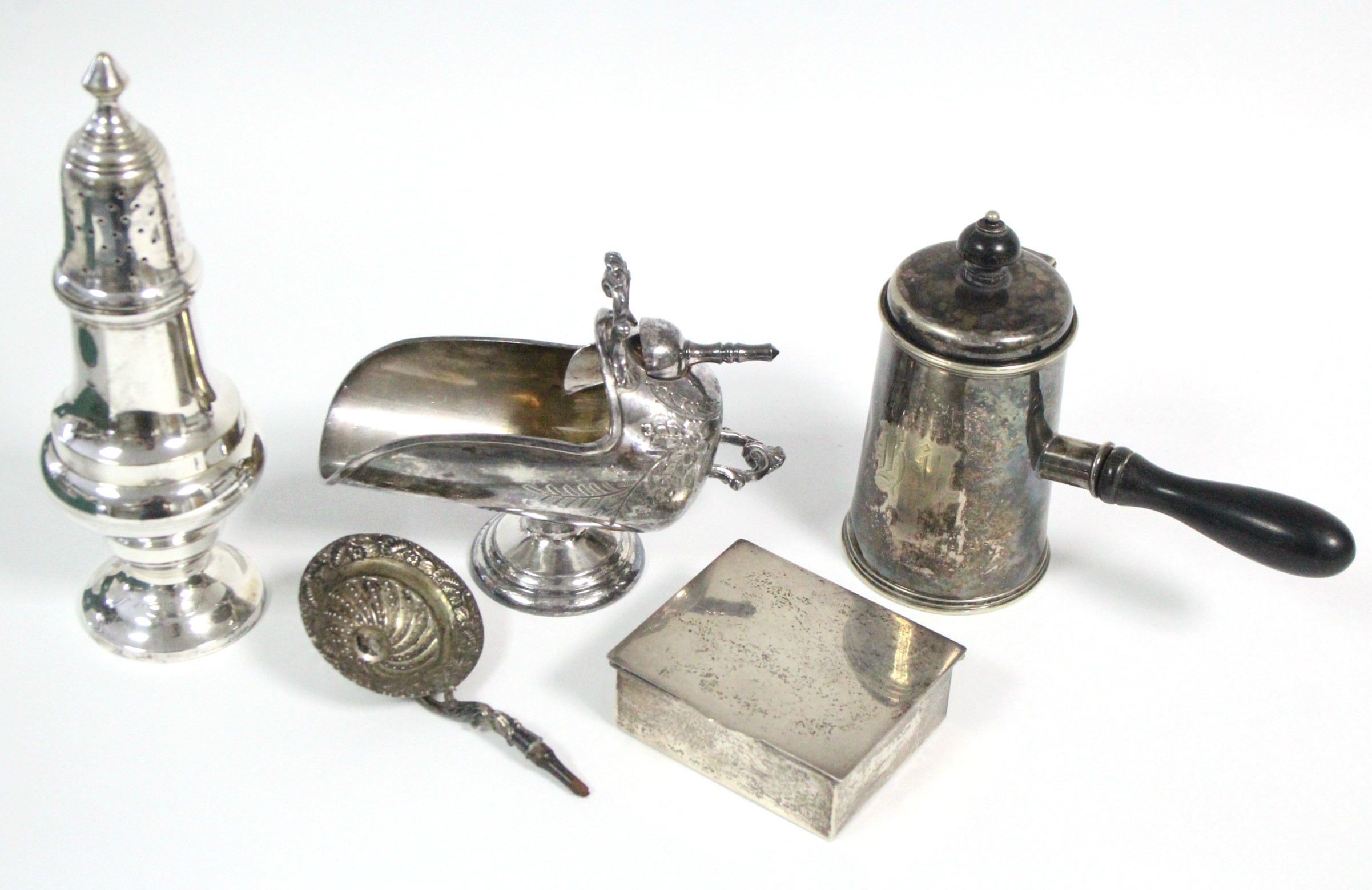 """A large electro-plated sugar castor, 8¼"""" high; a ditto sugar scuttle; a lidded pot with turned"""