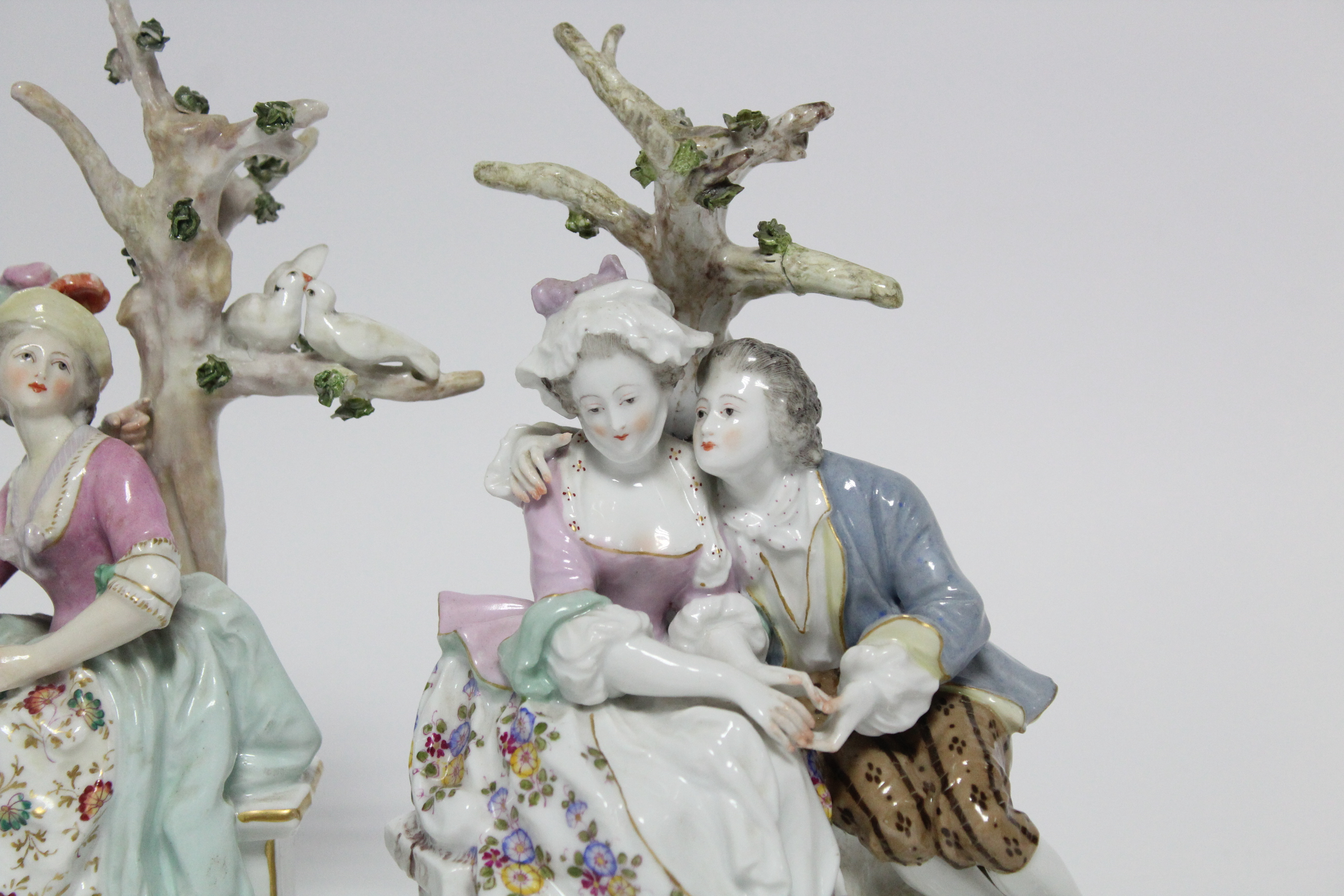 A pair of Samson porcelain romantic male & female figure groups, each dressed in colourful 18th - Image 3 of 5