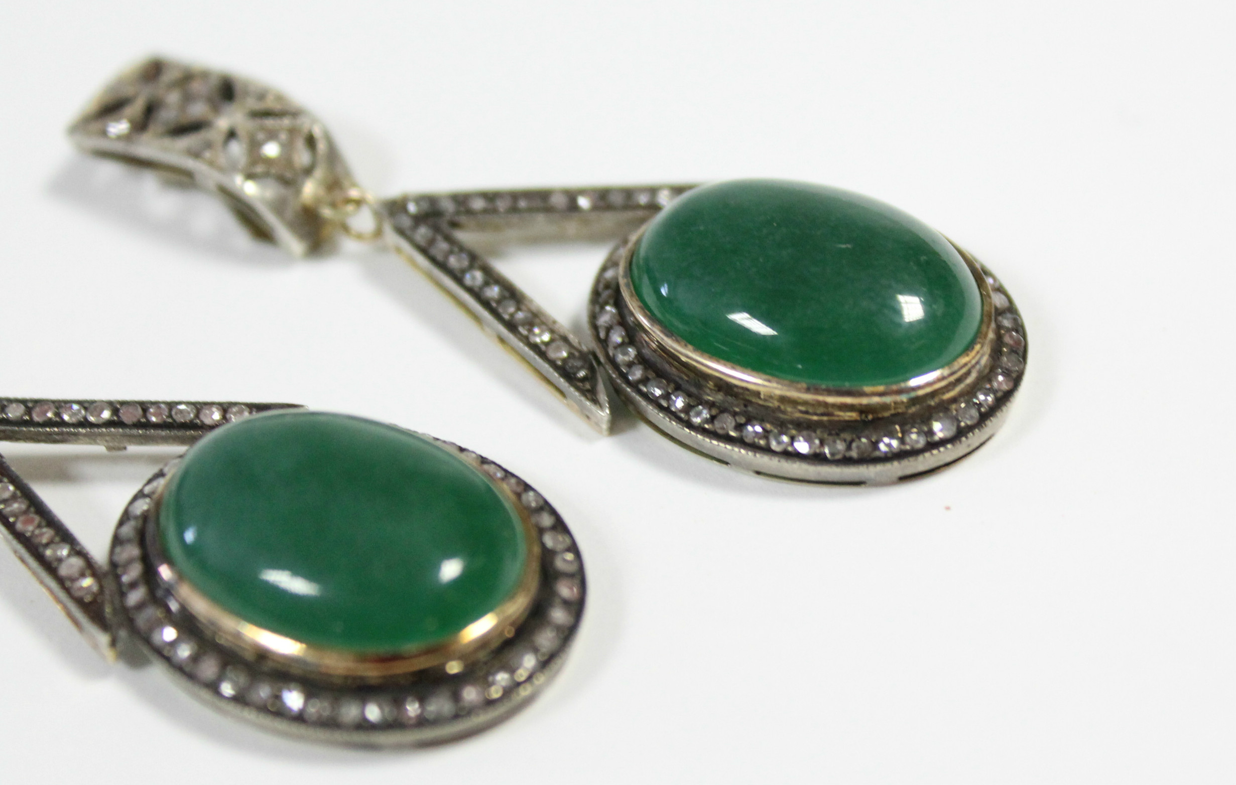 A PAIR OF JADE & DIAMOND PENDANT EARRINGS, each with oval green jade cabochon suspended from an - Image 4 of 6