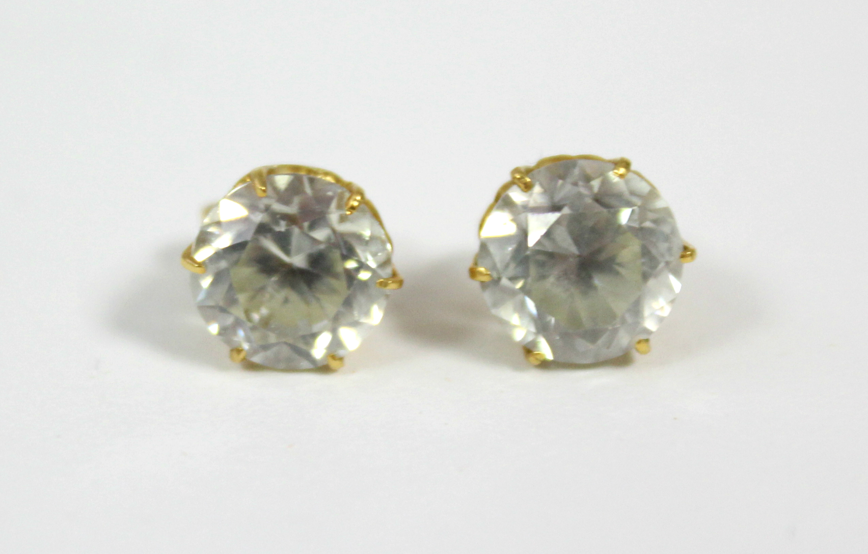 A pair of white topaz ear studs. - Image 2 of 3