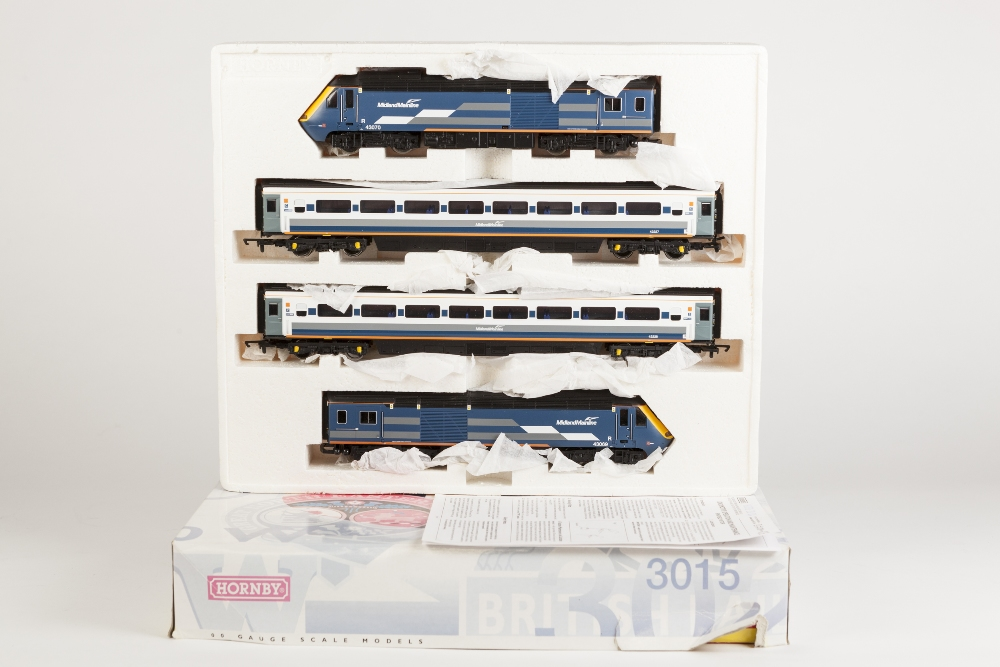 Lot 382 - HORNBY 00 GAUGE CLASS 43 MIDLAND MAINLINE HIGH SPEED TRAINS, No 43069 and 43070 and two coaches in