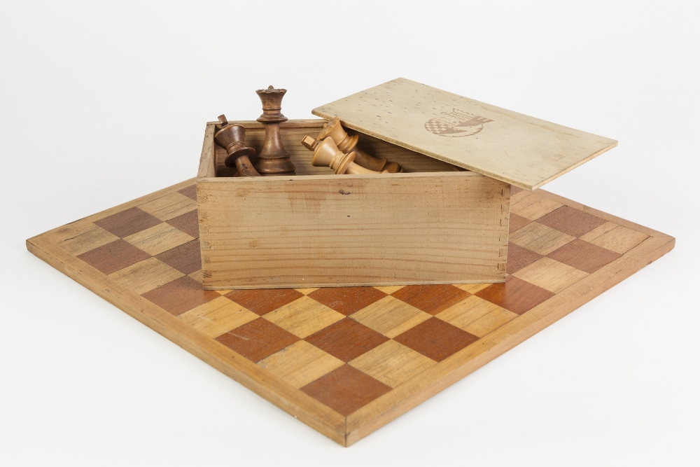 "Lot 295 - HENRI CHAVET CARVED AND STAINED HARD WOOD CHESS SET, Staunton pattern, height of king 3 1/4"" (8."