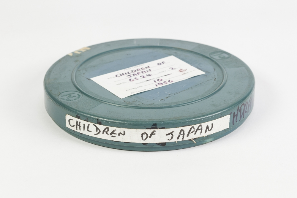 Lot 73 - 16mm FILM ON SPOOL, in metal case, Children of Japan 1940 with sound. Japan in Asia 1940's.