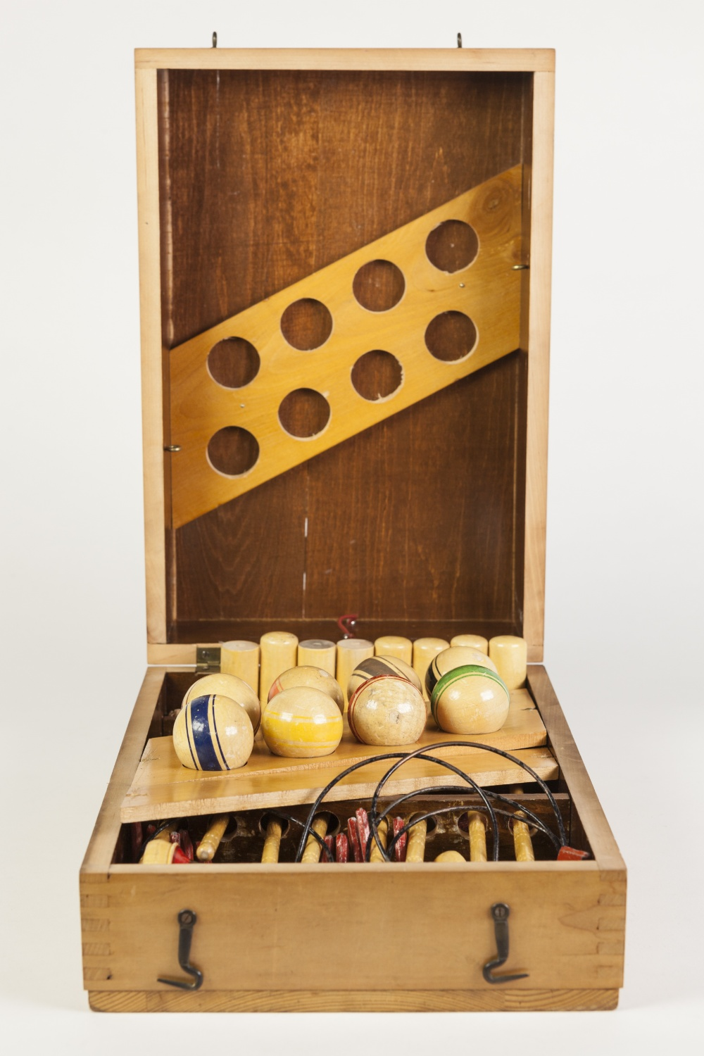 Lot 235 - 20th CENTURY WOODEN BOXED INDOOR CARPET CROQUET SET with eight mallets, eight wooden balls, metal