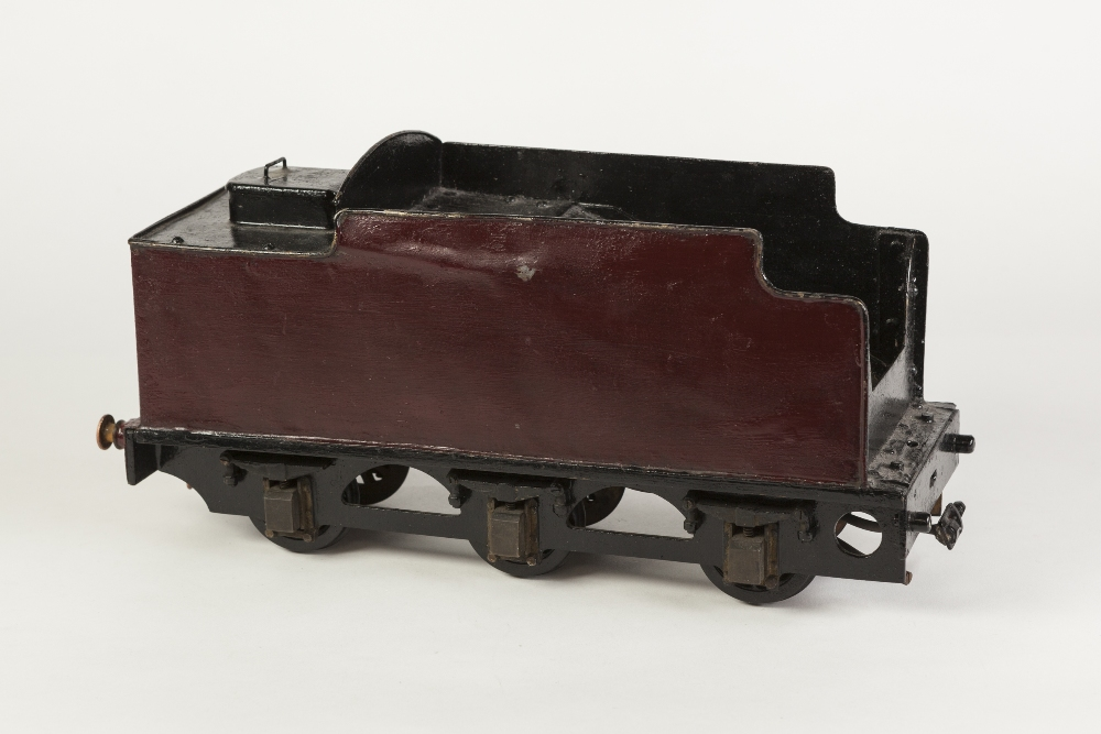 """Lot 414 - SCRATCH BUILT 2 1/4"""" GAUGE SIX WHEEL LOCOMOTIVE TENDER painted maroon and black, with access lid"""