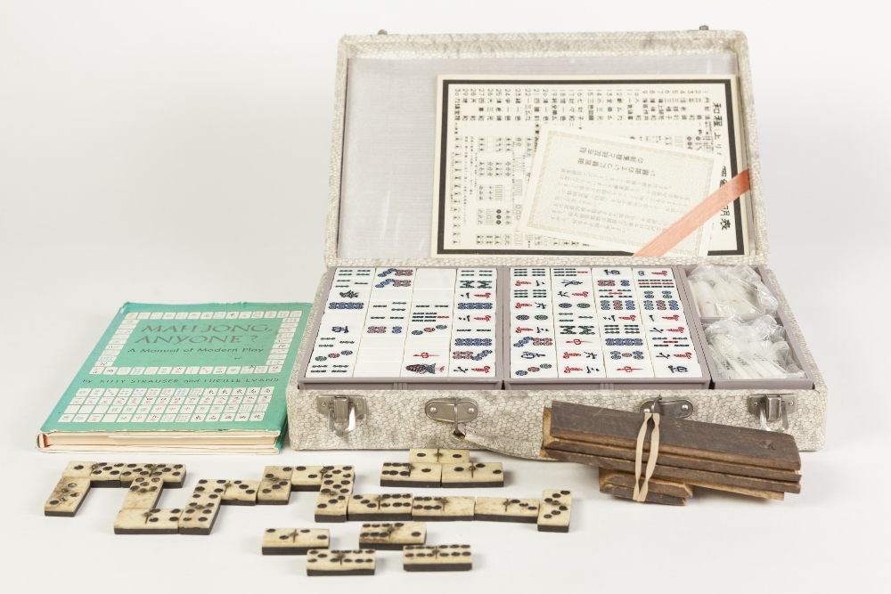 Lot 224 - SIMULATED IVORY AND BAMBOO, CIRCA 1960s MAH JONG SET in simulated snakeskin clad box together with