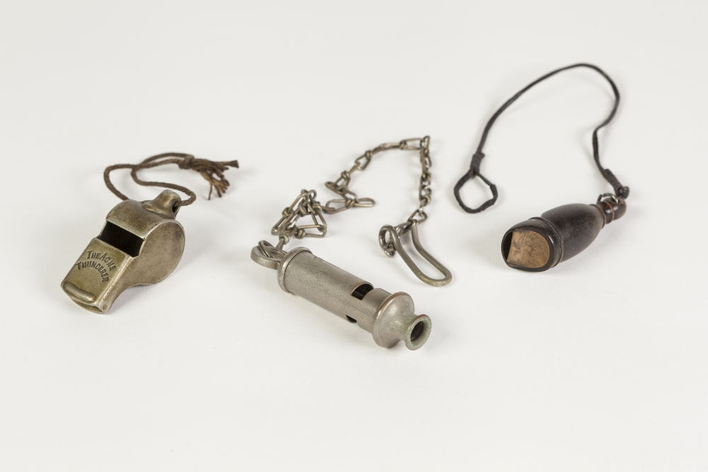 Lot 182 - LANCASHIRE AND NORTH WESTERN RAILWAYS 'THE ACME THUNDERER' METAL WHISTLE, TOGETHER WITH A CARVED