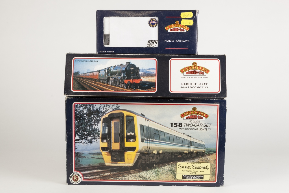 Lot 385 - BACHMANN BRANCH LINE 00 GAUGE BOXED 158 DMU TWO CAR SET in Scotrail livery with working lights,
