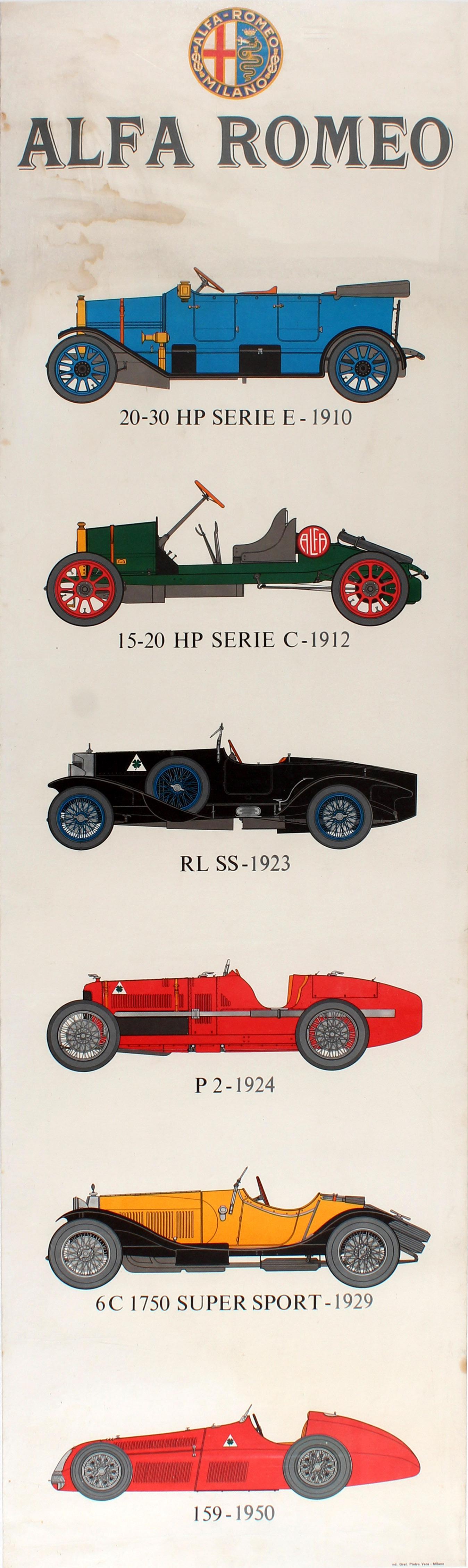 Original Vintage Car Dealer Showroom Advertising Poster For Alfa
