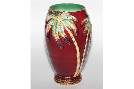 Beswick Red Lustre Palm Tree Decorated Vase 115 High