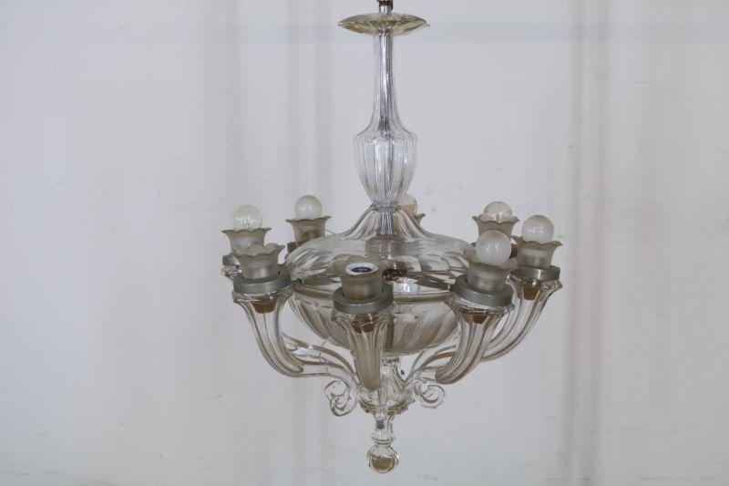 Los 20 - Kristallen 8-lichts hangkroon, Frankrijk ca, 1920. (1x armmontuur defect)