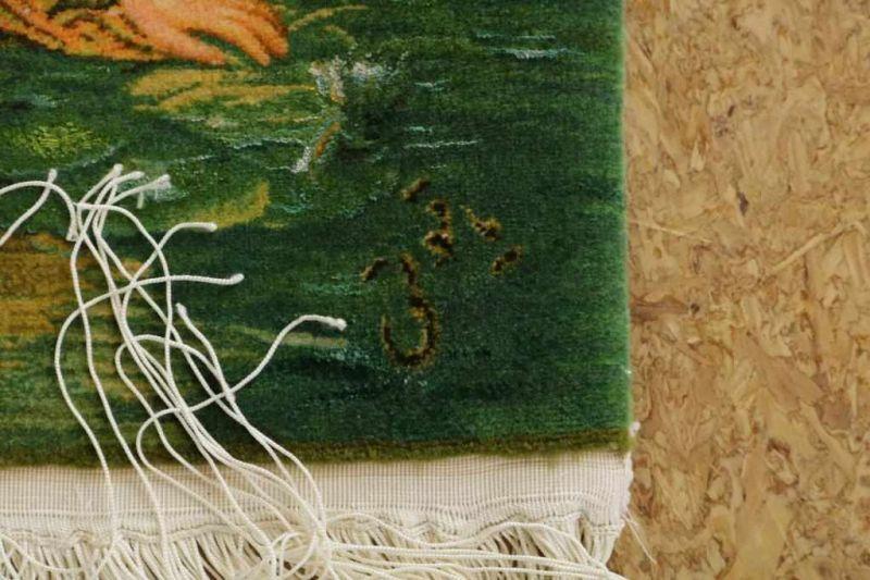 Los 11 - Wol met zijde handgeknoopte Tabriz wandkleed met decor van vrouwen in bos, met signatuur, 80 x 103