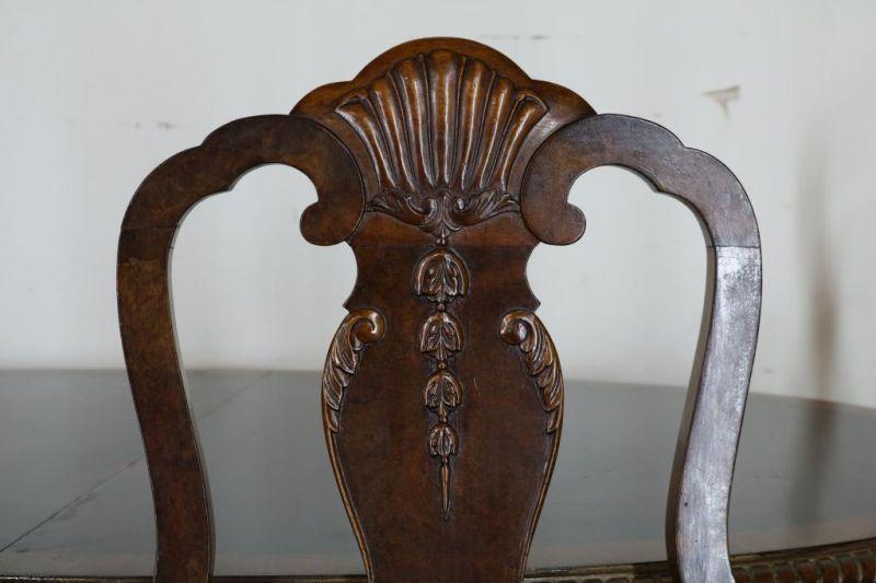 Serie van 4 noten Chippendale-stijl stoelen en uitschuiftafel, h. 76, br. 160, d. 95 cm. Mahogany - Bild 3 aus 5