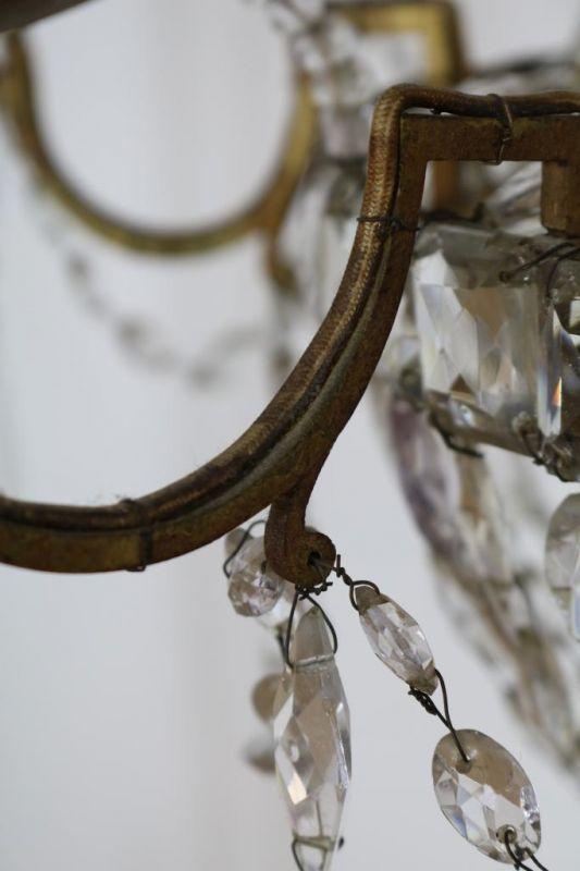 Geel metalen 12-lichts hangkroon met pegels, 19e eeuw Metal 12-lights chandelier with kristal - Bild 3 aus 3