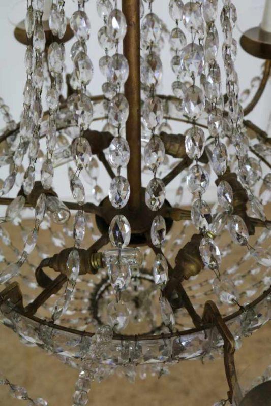 Geel metalen 12-lichts hangkroon met pegels, 19e eeuw Metal 12-lights chandelier with kristal - Bild 2 aus 3