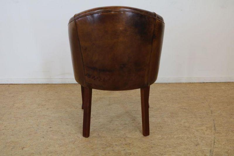 Hoefvormige armstoel bekleed met bruin leer - Bild 2 aus 2