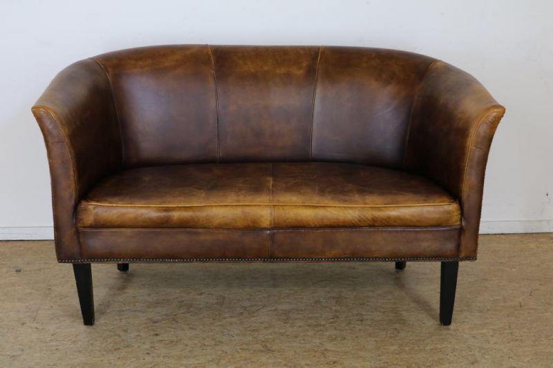Los 43 - 2-Zits bank bekleed met bruin leer Two seat sofa with brown leather