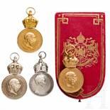"""Military Merit Medal """"Signum Laudis"""" - four awardsZwei Medaillen in Bronze, eine mit gedrücktem"""