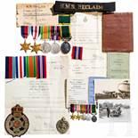 An estate of a British officerFünfteilige Ordensschnalle mit Miniaturschnalle: 1939 - 1945 Star,
