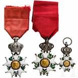 Three Orders of the Legion of Honour, 19th centuryDetailliert gefertigtes Ordenskreuz der