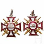 "Military Cross of Merit - two awardsZwei offensichtliche Probe-Kreuze (""N1"", ""N2"") der 3. Klasse mit"