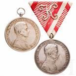 Medal of Bravery- two awardsSilberne Tapferkeitsmedaille für Offiziere unter Kaiser Karl I. mit