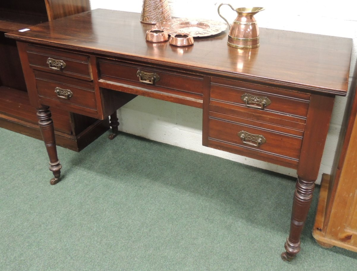 A late 19th century mahogany and stained beech dressing for 90cm dressing table