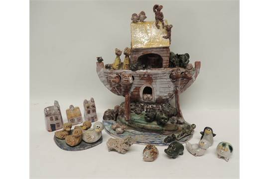 A studio pottery Noah's Ark by Jeremy Chapman, Ashwell, Herts