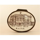 """The lid printed Depicting a view of """"New Guild Hall """"Bath   on a rose pink base the interior with"""