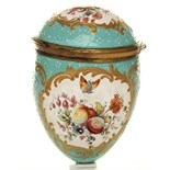 With gilt metal mounts painted with cartouche's of fruit and flowers with butterfly's hovering